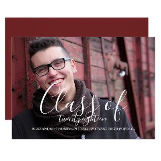 White Delicate Class of 2018 Photo Graduation Card