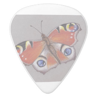 White Delrin Guitar Pick with Peacock Butterfly