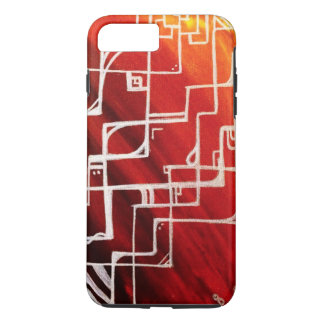 White detailed lines and designs on multicolour iPhone 7 plus case