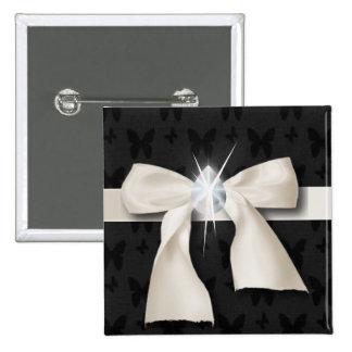 White Diamond Bow Sweet 16 2 Inch Square Button