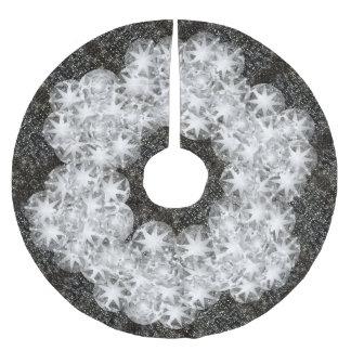 White Diamond Dust Sparkle Glitter on Black Brushed Polyester Tree Skirt