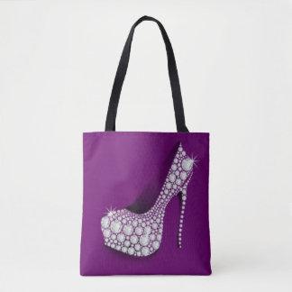 White Diamond High Heel Purple Design Tote Bag