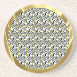 White Diamond Pattern and Gold Accent Coaster