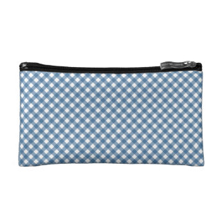 White Diamond Shapes and Classic Blue Cosmetic Bag