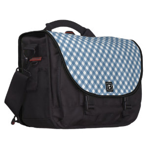 White Diamond Shapes and Classic Blue Laptop Bag