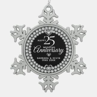 White Diamonds 25th Silver Wedding Anniversary Snowflake Pewter Christmas Ornament