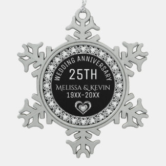 White Diamonds 25th Wedding Anniversary Template Pewter Snowflake Ornament