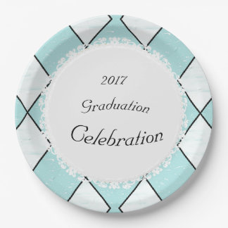 White-Diamonds-Blue-Ceramic-Tiles(c)TEMPLATE Paper Plate