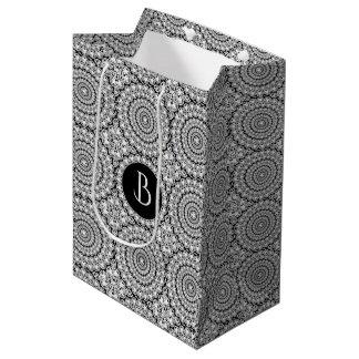 White Diamonds Circles Geometric Pattern Medium Gift Bag