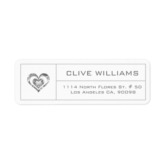 White Diamonds Heart Illustration Silver Frame