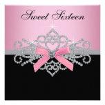 White Diamonds Pink Black Sweet 16 Birthday Party