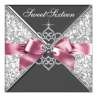 "White Diamonds Pink Black Sweet 16 Birthday Party 5.25"" Square Invitation Card"