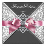 White Diamonds Pink Black Sweet 16 Birthday Party Invitation