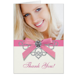White Diamonds Pink Photo Thank You Cards
