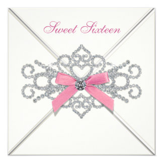 "White Diamonds Pink Sweet 16 Party 5.25"" Square Invitation Card"
