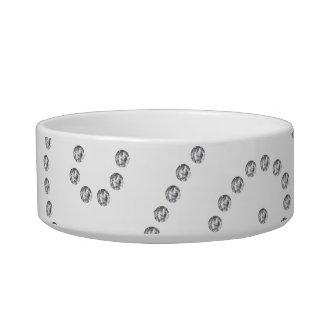 White diamonds swirls pet food bowl