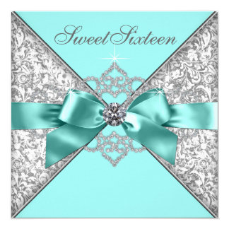 "White Diamonds Teal Blue Sweet 16 Birthday Party 5.25"" Square Invitation Card"
