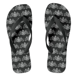 White Dieu Mon Droit British Coat Arms On Black Flip Flops