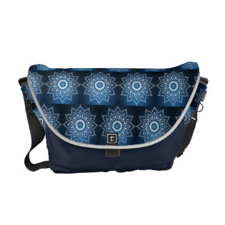 White Digital Flower On Dark Blue Courier Bag