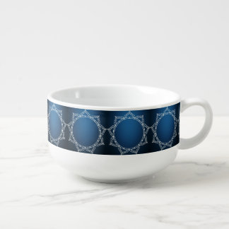 White Digital Flower On Dark Blue Soup Bowl With Handle
