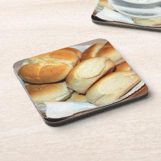 White Dinner Rolls In a Bread Basket Coaster