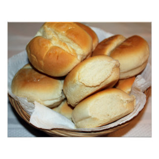 White Dinner Rolls In a Bread Basket Poster