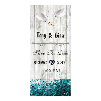 White Distressed Wood & Doves Save The Date Magnet