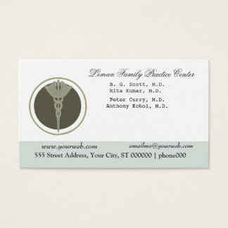 White Doctor Caduceus Medical Clinic Appointment Business Card