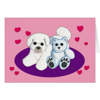 White Dog and Teddy Valentine Card
