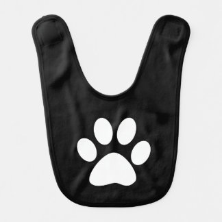White Dog/Cat Paw Print on Black Baby Bibs