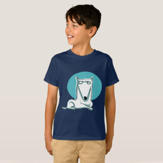 white dog lying and looking us funny cartoon T-Shirt
