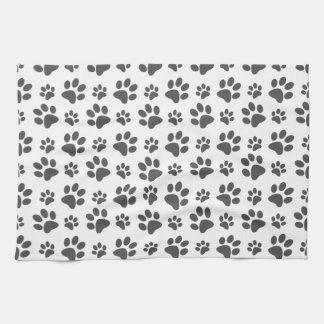 White dog paw print pattern kitchen towel