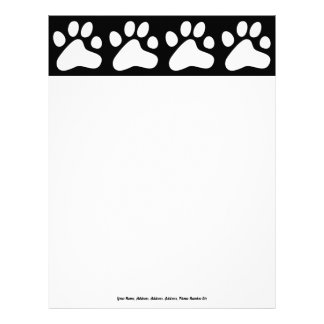 White Dog Paws, Your Name, Address, Address, Ad... Custom Letterhead