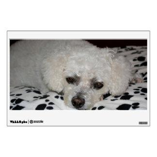White Dog Rectangular Wall Decal