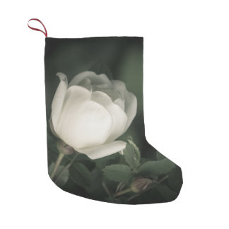 White Dogrose on a Dark Background. Add Your  Name Small Christmas Stocking