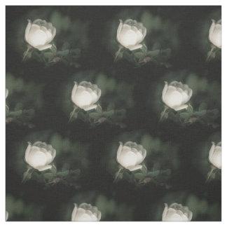 White Dogrose on a Dark Background. Fabric