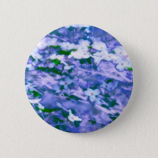 White Dogwood Blossom in Blue 2 Inch Round Button