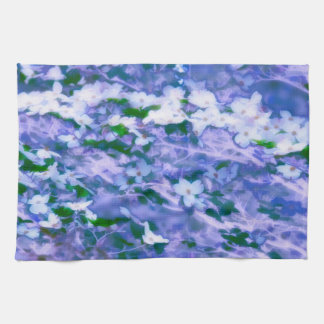 White Dogwood Blossom in Blue Hand Towel