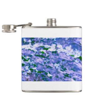 White Dogwood Blossom in Blue Hip Flask