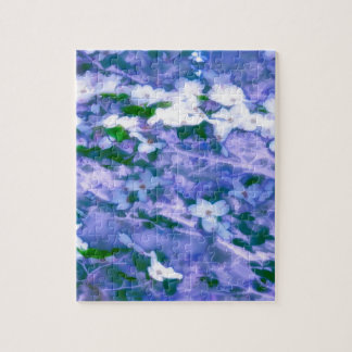 White Dogwood Blossom in Blue Jigsaw Puzzle