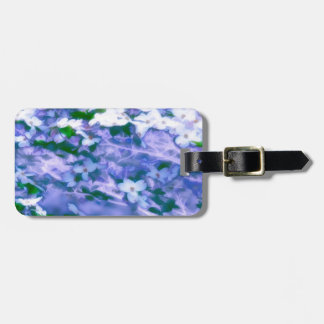 White Dogwood Blossom in Blue Luggage Tag