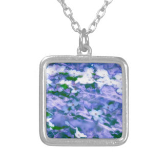 White Dogwood Blossom in Blue Silver Plated Necklace