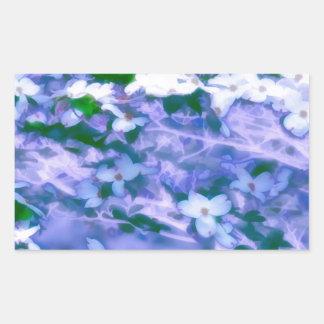 White Dogwood Blossom in Blue Sticker