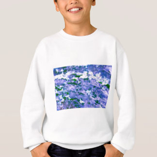 White Dogwood Blossom in Blue Sweatshirt
