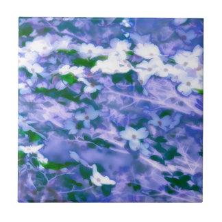 White Dogwood Blossom in Blue Tile