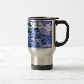 White Dogwood Blossom in Blue Travel Mug