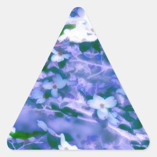 White Dogwood Blossom in Blue Triangle Sticker