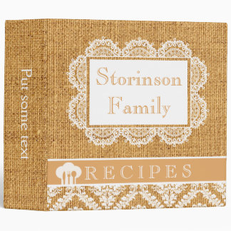 White doily with lace and burlap recipe binder