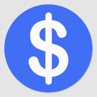 White dollar sign on blue background stickers