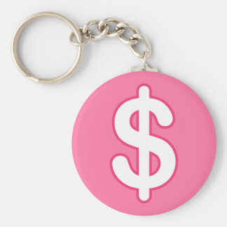 White dollar sign on pink background keychain